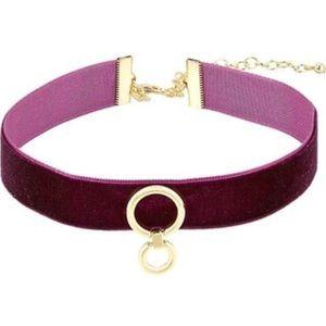 rebecca minkoff // dark purple velvet ring choker
